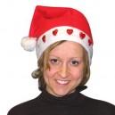 Bonnet Père Noël lumineux coeurs rouges