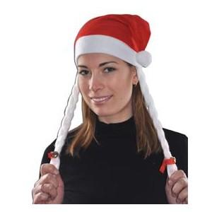 Bonnet Noël tresses blanches