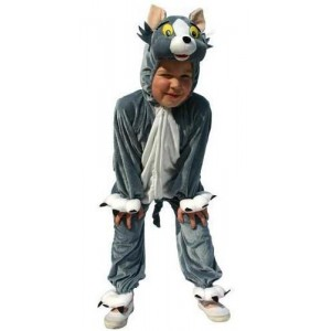 Costume peluche chat gris enfant