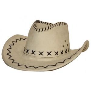 Chapeau cowboy simili cuir blanc