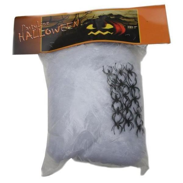 d coration halloween toile d 39 araign e blanche 400g 15 araign es. Black Bedroom Furniture Sets. Home Design Ideas