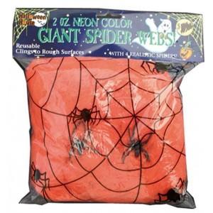 Toile d'araignée orange 50g + 2 araignées - Décoration Halloween