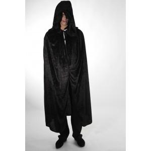 Cape capuche velours noir luxe 182cm