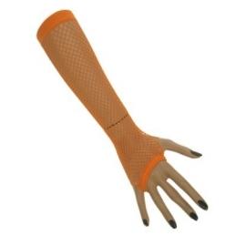 Mitaines longues résille néon - orange
