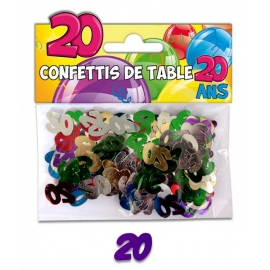 Confettis de table 20 ans