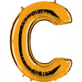 Ballon lettre métal or 102cm - C