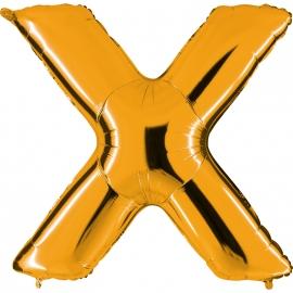 Ballon lettre métal or 102cm - X