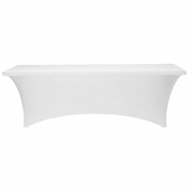 Housse de table rectangulaire lycra blanche