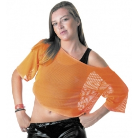 T-Shirt fishnet 80's fluo orange