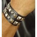 Bracelet clouté simili cuir 2 rangs