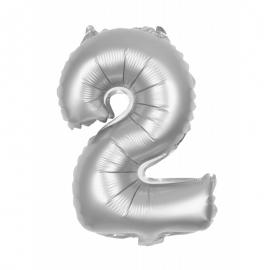 Ballon mylar 86cm argent - Chiffre 2