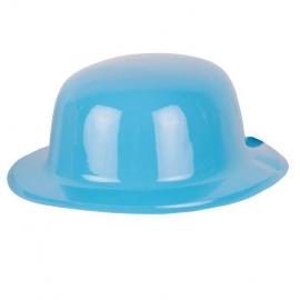Chapeau melon PVC paillettes bleu