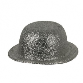 Chapeau melon PVC paillettes or