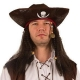 Tricorne pirate simili cuir avec cheveux