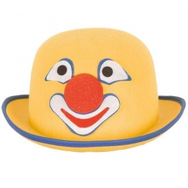 Chapeau melon clown feutre jaune