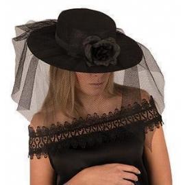 Chapeau dame feutre noir avec voile