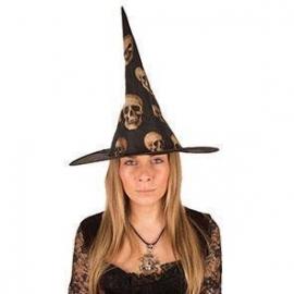 Chapeau sorcière nylon noir et orange