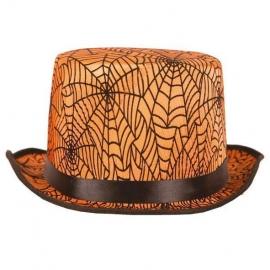 Chapeau Haut de forme toile d'araignées orange