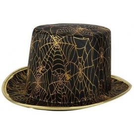 Chapeau Haut de forme toile d'araignées or