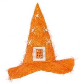 Chapeau sorcière peluche orange