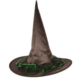 Chapeau sorcière nylon noir dentelle orange