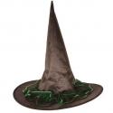 Chapeau sorcière nylon noir dentelle verte