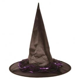 Chapeau sorcière nylon noir dentelle violette