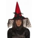 Chapeau sorcière luxe rouge