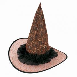 Chapeau sorcière dentelle orange