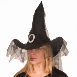 Chapeau sorcière skull et fleurs