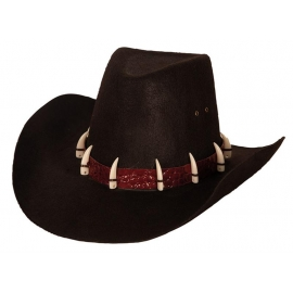 Chapeau cowboy simili cuir rouge