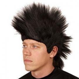Perruque homme punk noire