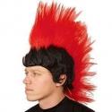 Perruque homme punk noire et rouge