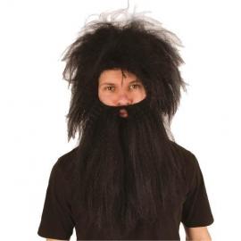 Perruque + barbe Homme des cavernes marron