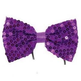 Noeud papillon paillettes violet