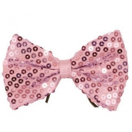 Noeud papillon paillettes rose