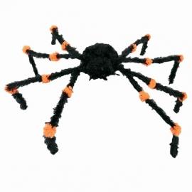 Décoration araignée noire 60cm + leds