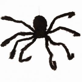 Décoration araignée noire et orange  90cm animée
