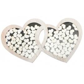 Cadre double coeur avec 85 coeurs en bois