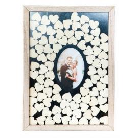 Cadre photo avec 90 coeurs en bois