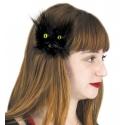 Barette tête de chat noir