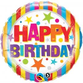 Ballon aluminium Birthday ombres - 45cm