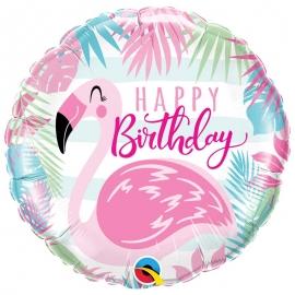 Ballon aluminium Birthday hibiscus - 45cm