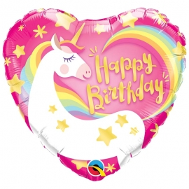 Ballon aluminium Birthday flamant rose - 45cm