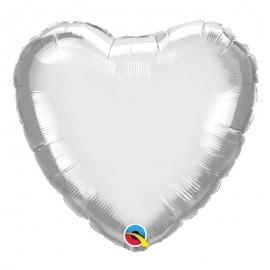 Ballon coeur 45cm chrome silver