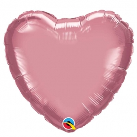 Ballon coeur 45cm chrome mauve