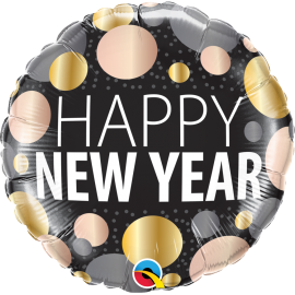 Ballon aluminium 45cm New year metallic dots