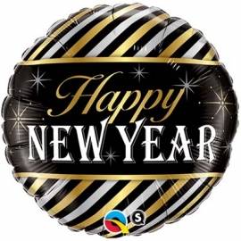 Ballon aluminium 45cm New year stripes