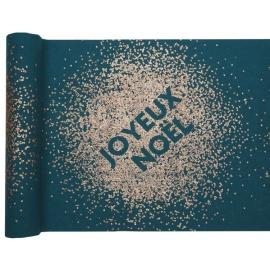Chemin de table joyeux noël paillettes bleu canard