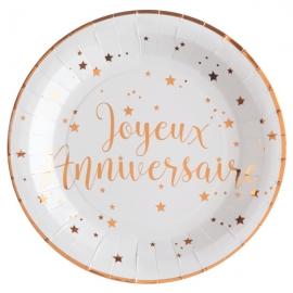 10 Assiettes Joyeux Anniversaire métallisé - Rose gold